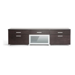 Baxton Studio - Baxton Studio Basilio Dark Brown Modern TV Stand - With an outward appearance of a sleek cabinet moreso than a TV stand, our Basilio Modern Entertainment Center is an undeniable beauty indeed!  The unit features a frame made with engineered wood and dark brown faux wood grain paper veneer as well as satin finish drawer pulls and legs.  Five drawer provide storage for all your components and a flip-down frosted tempered glass-front compartment is the ideal place for your cable box and DVD player.  The Malaysian-made modern television cabinet requires assembly and should be wiped clean with a dry cloth.