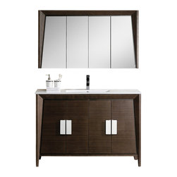 "Fine Fixtures - Fine Fixtures Imperial II Vanity Collection, Ebony Wave, 48"", Vanity - Marrying staple colors to explorative design, Imperial II is as beautiful as it is functional. The wood veneer grain is designed to create an eye-catching effect: While the surface pattern is horizontal for the vanity cabinet, its doors sport vertical grain lines that meet at the corners in harmonious contrast. Heavy duty polished chrome hardware adds stateliness and presence to an already commanding look, which is further enhanced by a grade AAA vitreous China sink basin. Connecting plumbing is super easy thanks to fully open vanity backs.'Its exquisite appearance is sure to leave a magnificent impression on your bathroom ."
