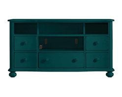 """Stanley Furniture - Coastal Living Retreat-Media Console - Old meets new in this lovingly designed console. Accommodates up to a 58"""" widescreen TV. Open shelving gives ready access to additional electronic equipment."""