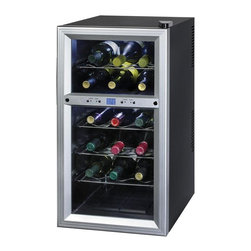 Home Decorators Collection - Vino Wine Cellar - With its 18-bottle capacity, this dual-zone Vino Wine cellar stores wine at optimal temperature and humidity conditions, keeping it safe and ready to enjoy. Digital controls with an LCD display make it easy to set the temperature. Its dual insulated temperature zones supply scalloped chrome shelves to cradle and display your wine, while keeping it at the right temperature. Features soft interior LED lighting with an on/off switch. Double-paned tempered glass door. Automatic defrost.