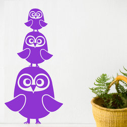 Three Owls Wall Stickers - Violet - With our decorative WallStickers, it is easy to create a new look and change the style of a room in a matter of minutes. Can be applied to all even and smooth surfaces. Will not stick to rough surfaces, such as brick walls etc.