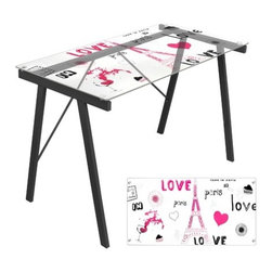 "LumiSource - Love In Paris Office Writing Desk - The Love in Paris Office Desk features a unique artistic print to give your office or dorm room a unique look! This desk features a tempered glass atop a sturdy steel frame. Works great as a drafting table as well. Features: -Office Desk.-Unique printed tempered glass top.-Desk Type: Writing Desk /Computer Desk.-Top Finish: Glass.-Base Finish: Black.-Gloss Finish: No.-UV Finish: No.-Top Material: Tempered Glass.-Base Material: Metal.-Hardware Material: Metal.-Number of Items Included: 1.-Non-Toxic: Yes.-Water Resistant: No.-Stain Resistant: No.-Heat Resistant: No.-Style: Modern.-Design: Standard.-Distressed: No.-Eco-Friendly: No.-Cable Management: No.-Keyboard Tray: No.-Height Adjustable: No.-Drawers Included: No.-Exterior Shelving: No.-Cabinets Included: No.-Ergonomic Design: Yes.-Handedness: Both.-Scratch Resistant: No.-Chair Included: No.-Legs Included: Yes -Leg Material: Metal.-Leg Glides: No..-Casters Included: No.-Hutch Included: No.-Treadmill Included: No.-Cork Back Panel: No.-Modesty Panel: No.-CPU Storage: No.-Built In Outlet: No.-Built In Surge Protector: No.-Light Included: No.-Modular: No.-Lifestage: Tween - Adult.-Application: Home Office, Professional, Dormroom.-Commercial Use: Yes.-Product Care: Wipe clean with a dry cloth, clean glass surface with glass cleaner.-Weight Capacity: 100 lbs.-Swatch Available: No.-Recycled Content: No.Specifications: -FSC Certified: No.-EPP Certified: No.-Green Guard Certified: No.-ANSI BIFMA Certified: No.-SCS Certified: No.-ADA Compliant: No.-FIRA Certified: No.-GSA Approved: No.Dimensions: -Overall Height - Top to Bottom: 28.75"".-Overall Width - Side to Side: 44.5"".-Overall Depth - Front to Back: 22.75"".-Desk Return: No.-Credenza: No.-Bridge: No.-Cabinet: No.-Drawer: No.-Shelving: No.-Seat: No.-Desktop Height: 28.75"".-Desktop Width - Side to Side: 44.5"".-Desktop Depth - Front to Back: 22.75"".-Hutch: No.-Legs: Yes.-Overall Product Weight: 36 lbs.Assembly: -Assembly Required: Yes.-Tools Needed: Allen Key.-Additional Parts Required: No.Warranty: -Product Warranty: 90 Day Limited."