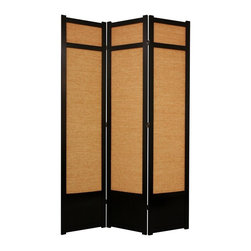 Oriental Unlimited - 7 ft. Tall Jute Shoji Screen w Kick Plate (4 Panels / Rosewood) - Finish: 4 Panels / RosewoodScreens may vary slightly in color. Includes a kick plate to protect the shade from scuffs. Difficult to find in the USA. Great for rooms with high ceilings for a more substantial feeling or where greater privacy is preferred. Tightly woven jute panels to block light. Provides complete privacy. Shade is strong. Fiber reinforced. Crafted from durable and lightweight Scandinavian Spruce. Panels are constructed using Asian style mortise and tenon joinery. Lacquered brass. 2-Way hinges mean you can bend the panels in either direction. Black finish. Assembly required. Each panel: 17.5 in. W x .75 in. D x 83.5 in. H. 3 Panels: 53 in. wide (flat). Approximately 45 in. wide (folded to stand upright)