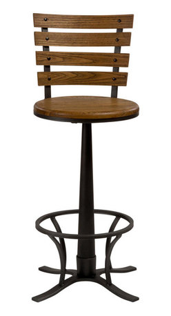 Hillsdale Furniture - Hillsdale Westview Swivel Stool in Steel Gray - 26 Inch - The Westview Stool is a quirky statement-maker. Constructed of metal with a steel gray finish, the Westview is complemented by a wooden, light oak-finished seat bearing a strong resemblance to old school desk chairs. It is a 360 degree swivel stool, and is available in bar and counter heights. Some assembly required.