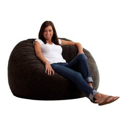 "Comfort Research - ""Comfort Research 4' Large Fuf in Comfort Suede, Black Onyx"" - ""This is the chair that brought bean bags out of the 1970s and into the bedrooms and dorm rooms all over the world. The first one to use patented memory foam, the Fuf is one-of-a-kind. Spend five minutes on a Fuf and your body will thank you for it.Dimensions (W x L x H): 48"""" x 48"""" x 34""""Filled with super soft and long lasting fuf foam re-fuf again and again for custom comfortCovered in soft, durable fabricGreat for basements, bedrooms, dorm rooms, or even the family roomPlace it on its side for more of a lounge position or upright for more back supportAvailable in assorted sizes and colors"""