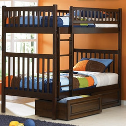 Atlantic Furniture - Arizona Twin Over Twin Bunk Bed w Raised Pane - NOTE: ivgStores DOES NOT offer assembly on loft beds or bunk beds. Includes upper and lower bunk panel, rails, clip-on ladder, 2 slats and raised panel underbed drawers. Mattress not included. Mortise and tenon joinery. 26 Steel reinforcements. Guard rails match panel design. 5 Step, high build finish. Designed for durability. Pictured in Antique Walnut finish. 1-Year manufacturer warranty. Clearance from floor without trundle or storage drawers: 11.25 in.. Bed: 78.88 in. L x 42.63 in. W x 67.13 in. H. Raised panel drawers: 74.13 in. L x 24.38 in. W x 12 in. H. Bunk Bed Warning. Please read before purchase.Are you looking for a modern bunk for your modern child, but still want to keep a semi-classic design? This bed is for you. Straight clean lines give you a modern feel, yet the rounded vertical slats let you have the traditional mission style. This hip Bunk Bed is easy to assemble and comes in three of our high build Five Step Finishes. Manufactured of Eco-friendly Hardwood giving your child the modern look they want and letting you feel good about your purchase.