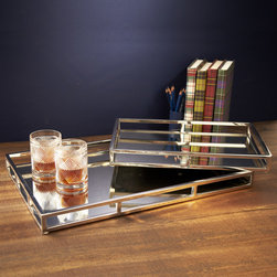 Mirrored Gallery Trays-Set of 2 - Stainless and mirrored glass trays add an element of sophistication to the room.  Use in a Butler's Pantry, Dressing Area or coffee table.  The possibilities are endless.