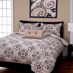 Siscovers - Sumatra Graphite Tan and Gray Six Piece Queen Duvet Set - - A Batik pattern with Moorish influence  - Set Includes: Duvet - 94x98, Two Queen Shams - 30x20, One Decorative Pillow - 16x16, One Decorative Pillow - 26x14  - Workmanship and materials for the life of the product. SIScovers cannot be responsible for normal fabric wear, sun damage, or damage caused by misuse  - Reversible Duvet and Shams  - Care Instructions: Machine Wash  - Made in USA of Fabric made in China Siscovers - SUGR-XDUQN6