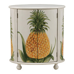 Coastal/Tropical Style - The pineapple is known as a symbol of welcome. This drum style cabinet is the epitome of that message with its large hand painted mural of the fruit across both large doors, in Provenir Ivory and Gold finish. Fluted molding, bun feet, tassel pulls and an interior shelf offer even more details to love. DIMENSIONS: 31.25x19.75x34.25 (ctc61693)