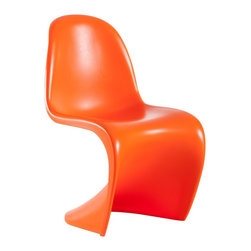 "Baby S Orange Childrens Chair Sets - Allow your child to pull up a desk chair in style with this curvy ""S"" chair. The sophisticated style and gravity-defying shape have a space-age appeal that kids are sure to enjoy."