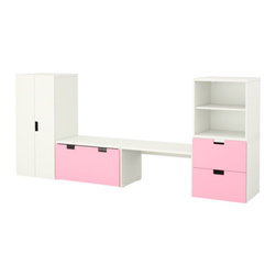 Ebba Strandmark/IKEA of Sweden - STUVA Storage combination with bench - Storage combination with bench, white, pink