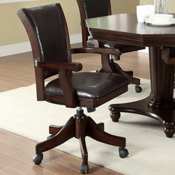 Coaster - Game Chair, Dark Mahogany - Whether it's poker or pool night or just dinner time, this 3-in-1 game table is versatile and ready to meet your entertaining needs. Finished in a dark mahogany, this octagon-shaped dining table turns into a poker table or bumper pool table. Arrange this multi-purpose table with coordinating game chairs. Each chair has a padded seat and back for comfort and support, sturdy arm rests and caster wheels for added mobility. This is a great addition to any transitional styled entertainment room or dining room.
