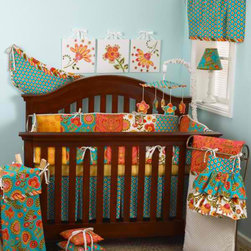 "Cotton Tale Designs - Gypsy 7 Pc Crib Bedding Set - A quality baby bedding set is essential in making your nursery warm and inviting. All Cotton Tale patterns are made using the finest quality materials and are uniquely designed to create an elegant and sophisticated nursery. Gypsy 7 Piece Set includes the 3 pc bedding set (fitted sheet, dust ruffle, coverlet), diaper stacker, toy bag, valance, pillow pack. Gypsy is an amazing combination of bright 100% cotton percale Provence fabrics. Box pleated dust ruffle. Sheet in small gold dot, 300 thread count. Comforter, duvet style with coconut buttons and striped bias trim. Gypsy diaper stacker dress is shirred in two tiers. The diaper stacker can be tied to the changer or can be used as decor on the wall. Holds up to 6 dozen newborn diapers. Absolutely adorable, 100% cotton percale. Functional and fun this special diaper stacker is perfect for your little girls nursery. Never tie on crib. Wash gentle cycle, separate, cold water. Tumble dry low or hang dry. The Gypsy toy bag in bright cotton percale, can be tied to the changer and used for storage or it may be used as wall decor. This functional toy bag can store toys or supplies, up to 10 lbs. capacity. Never tie on crib. Machine wash cold water, separately. Tumble dry low or hang to dry. Gypsy pillow pack consists of three individual pillows that can be tied together with dot bias or used separately. Three pillows measures 15 x 15, 12 x 12, 10 x 10 inches. Pillows should never be used in the crib. Spot clean only. The smart little cotton valance in turquoise designs with stripe trim and dot ties. Valance measures 51 x 16 inches. Machine wash cold water, on gentle cycle separately. Tumble dry low or hang to dry. All these fabrics come together with great style and fun. A perfect little girls nursery. This design looks great with all crib colors. Wash gentle cycle, cold water, separately. Tumble dry low or hang dry.; Dimensions:19""L x 19""W x 9""H"
