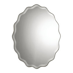"Uttermost - ""Uttermost Teodora Mirror 0.75 x 30.25 x 40"""", Silver"" - ""Mirror features a ruffled edge finished in antiqued silver with a generous 1 1/4"""" bevel.Dimensions: 0.75"""" depth by 30.25"""" width by 40"""" heightMaterial: MDF"""
