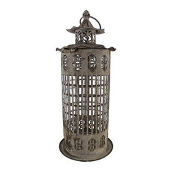 Distressed Finish Gray Lantern Candle Holder 15 Inch - 1This beautiful metal and glass decorative lantern style candle holder has a wonderfully rustic, distressed gray enamel finish finish. The lantern opens via a clip on the top, and has a glass chimney for safety .It has a hanger ring on top, so you can hang it from eaves or trees, and has a flat bottom, so it can be displayed on tables or decks. The lantern is 15 inches tall (7 inches including the hanger), 6 1/2 inches in diameter. It can accept pillar candles up to 3 inches in diameter and 8 inches tall. It makes a great gift for friends and family.