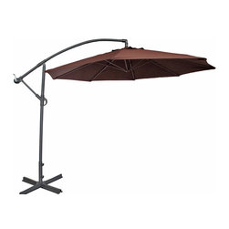 Abba Patio - Abba Patio Cantilever Patio Umbrella w/ Cross Base and Crank, Chocolate, 10 Ft - Abba Patio 10 Feet Offset Cantilever Umbrella