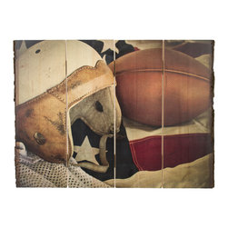 Walnut Hollow - Vintage Football Print - Natural bark edge print - no two are alike.  The unique process embeds the image directly into the wood surface, maintaining quality, detail, and resolutions of original image while allowing natural wood grain and texture show through.  Keyholes for easy hanging. *Please note that as in nature, each piece is unique and the appearance and size may vary slightly from photos.  Made in America.