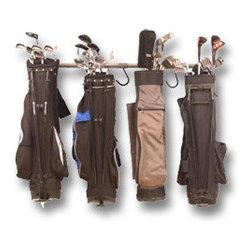 Garage Storage Racks - Golf club rack.  Keep the garage organized with specialized storage racks.