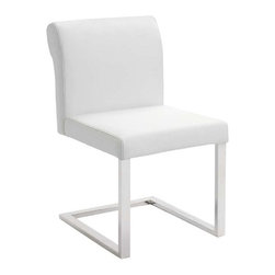 NUEVO - Bruno Dining Chair, White Leather - Classically designed, these leather chairs will never go out of style. Leather is the perfect upholstery at a dining table- it's incredibly durable and easy to clean (entirely kid friendly!). With a low back and small profile, these chairs are ideal for small spaces or perfect for showing off your statement dining table.