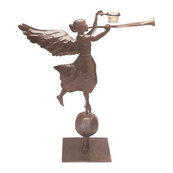 Rustic Metal Herald Angel - Hark, these herald angels bring a warm glow and good tidings that make the season the merriest time of year. The Rustic Metal Herald Angel with a candle holder looks festive on a table, mantel, or any area that's in need of a little holiday cheer. The angels come in three sizes--small, medium, and large--to fit your design scheme. Designers made the angels from recycled metal and iron and finished them in antique rust for a traditional feeling. Each angel comes with a glass votive for the candle.