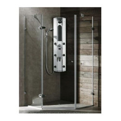 Vigo Industries - 36 x 36 in. Frameless Neo Angle Clear Glass Shower Enclosure - Both dramatic and space-saving, the Vigo frameless neo-angle shower enclosure creates a beautiful focal point for your bathroom.