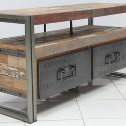 "2 Drawer TV Entertainment Console (44"" wide) - TV Entertainment console with 2 drawers (44"" wide) made from salvaged / reclaimed fishing boat wood and steel.  Modern, rustic & industrial."