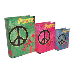 Cheung's - Home Set Of 3 Book Box With Wild Colors, Peace And Love Printed On Vinyl - Nested for Space Saving. Felt Lining.