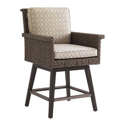Frontgate - Blue Green Swivel Counter Stool - Aluminum frame has a unique textured finish and features a full 360-degree swivel and footrests with protective covers. Slightly shorter than our Blue Olive Swivel Bar Stool. Fabrics feature tightly woven mold- and mildew-resistant fibers, solution-dyed to resist UV fading, with a durable finish for superior stain and water resistance. Plush WeatherGuard cushions feature: a 1.8 lb.-density inner core of high-resiliency foam that functions like a box spring; a layer of soft-cell foam for mattress-like comfort; a layer of naturally anti-microbial spun polyester fiber; and a layer of thermally sealed non-woven ticking to prevent water penetration. High-density polyethylene wicker offers a high tensile strength, low maintenance and resistance to UV exposure, mildew, fading, staining, stretching and cracking. Ground your outdoor space with hand-woven warmth, applied to all-weather contemporary styling. Defined by a distinctive channeled herringbone design of slate-gray wicker, the Blue Olive Swivel Counter Stool is engineered to deliver enduring comfort and sophistication. The high track arms, thick armrest, tilted back and 360-degree swivel cater to laid-back entertaining, while advanced materials resist mold, mildew, stains, water and UV fading.  .  .  .  .  . All-weather wicker is easy to clean with a mild solution of soap and water .