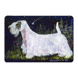 Caroline's Treasures - Sealyham Terrier Kitchen or Bath Mat 20 x 30 - Kitchen or Bath Comfort Floor Mat This mat is 20 inch by 30 inch. Comfort Mat / Carpet / Rug that is Made and Printed in the USA. A foam cushion is attached to the bottom of the mat for comfort when standing. The mat has been permanently dyed for moderate traffic. Durable and fade resistant. The back of the mat is rubber backed to keep the mat from slipping on a smooth floor. Use pressure and water from garden hose or power washer to clean the mat. Vacuuming only with the hard wood floor setting, as to not pull up the knap of the felt. Avoid soap or cleaner that produces suds when cleaning. It will be difficult to get the suds out of the mat.