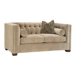 Lazar Industries - Tommy Loveseat in Bellisimo Pearl - Tommy Loveseat: A transitional beauty, the Tommy features various pillow options along a booth style tufted seating, adorned with welted detail and exceptional tailoring