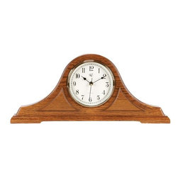 RIVER CITY CLOCKS - Radio-controlled Tambour Mantel Clock with Oak Finish - Sets itself automatically