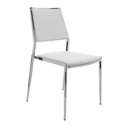 Nuevo Living - Aaron Stackable White Dining Chair by Nuevo - HGBO175 - Comfortable, elegant and classic, the Aaron stackable dining chair in white is perfect for any decor. It is made with a  durable naugahyde (vinyl) upholstery that is sure to last for years to come. Perfect for intimate gatherings or wild evenings, this wonderful furniture is sure to delight and amaze. The Aaron stackable dining chair is available in your choice of black, white, or