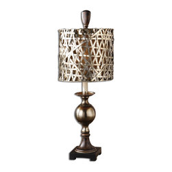 Uttermost - Alita Champagne Buffet Lamp - Serve champagne at your next buffet! Everyone will be eager to toast the style and grace of your new, antique candlestick buffet lamp. And like bubbles tickling your nose, the silvery champagne finish on the woven metal drum shade brings a smile to even the most discerning buffet guests.