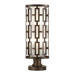 """838880ST Outdoor Adjustable Pier/Post Mount River Oaks - Oval adjustable Pier/Post mount in dark bronze, with conforming off white oval glass shade.  Instructions for a 3"""" post mount application included."""
