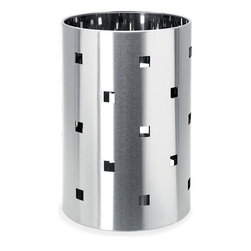 Blomus - SQUARO Perforated Wastepaper Basket - A unique twist to a modern waste basket, the SQUARO Perforated Wastepaper Basket keeps your waste out of sight, but with artful style - the square cut-out designs gives it a playful character, while the stainless steel cylinder body maintains a sophisticated allure.