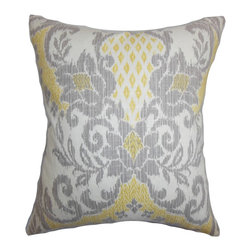 """The Pillow Collection - Petrini Floral Pillow Yellow 18"""" x 18"""" - Provide a cheery accent to your home with this gorgeous floral pillow. This accent pillow comes with a dual-colored floral print in shades of gray and yellow on a solid white background. Decorate your living room, bedroom or guest room with a few pieces of this toss pillow. Fabricated in USA, this 18"""" pillow is made with 100% plush cotton material. Hidden zipper closure for easy cover removal.  Knife edge finish on all four sides.  Reversible pillow with the same fabric on the back side.  Spot cleaning suggested."""