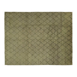 Manhattan Rugs - Hand Knotted Trellis Design Grey/Green Plush Moroccan Wool Area Rug H6420 - Moroccan Rug weaving began with the Berbers, who were the indigenous people of North Africa and inhabited Morocco before it was invaded by Arabs in the seventh century. These rugs are usually in bold colors and animated patterns, and the designs are almost always geometric or tribal. The colors and patterns are distinct according to the tribe that wove it. In the twentieth-century, the Moroccan Rugs are widely collected in the West because of its unique tribal patters. The wool of these rugs is plush and soft to the touch.