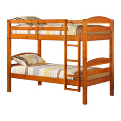 Walker Edison - Twin/Twin Solid Wood Bunk Bed - Honey - Stylish, contemporary design. Solid hardwood construction. Rich, attractive finish. Does NOT include mattresses or bedding. Easily and safely separates into two individual beds. Supports slats included, no box spring needed. Conforms to the latest consumer product safety standards. Ideal for space-saving needs. Maximum recommended upper mattress thickness of 9 in.. Each bunk supports 250 lbs.. Ships ready-to-assemble with necessary hardware and tools. Assembly instructions included with toll-free number and online support. Dimensions: 80 in.  W x 42 in.  D x 65 in.  H(112 lbs. ). Bunk Bed Warning. Please read before purchase.. NOTE: ivgStores DOES NOT offer assembly on loft beds or bunk bedsCrafted from beautiful solid wood, this contemporary bunk bed is functional, sturdy and exceptionally stylish. Its full length guardrails and an integrated ladder were designed with safety in mind. A great solution for any space-saving needs, this bunk bed easily converts into two individual beds for versatility. This stunning, solid wood construction is sure to please any growing family.