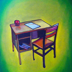 CNoriega Fine Art, Inc. - Vintage School Desk Artwork - Many of us remember a time before laptops, cell phones and tablets. School life has changed drastically, yet there's nothing more symbolic than a school desk, chair, pencil and paper. Let this painting serve as a sentimental reminder of educational roots.