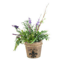 """D&W Silks - Artificial Lavender, Laurel and Mini Asparagus in Wooden Fleur-De-Lis Planter - It's amazing how much adding a plant can change the look of a room or decor, but it can be difficult if your space is not conducive to growing plants, or if you weren't exactly born with a """"green thumb."""" Invite the beauty of nature into your home without all the upkeep with this maintenance-free, allergy-free arrangement of artificial lavender, laurel and mini asparagus in a wooden fleur-de-lis planter. This is not a living plant."""