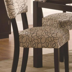 Coaster - Libby Side Chair - Set of 2 - Set of 2. Contemporary style. Upholstered seat and seat back. Modern design with casually refined feel. Made from poplar solids and birch veneers. Dark cappuccino finish. 25 in. W x 19 in. D x 34 in. H. WarrantyBring detail and design into your dining space with the Libby dining side chair. This chair is sturdy while also maintaining a stylish appearance. Subtle curves along the chair back makes a statement in your home. The Libby Side Chair makes a perfect addition to any contemporary dining space.