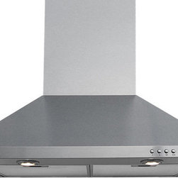 Windster RH-W36 Wall Mounted Range Hood - Add a touch of style to your kitchen and clean out unwanted odors, smoke, moisture, and other contaminants at the same time with this sleek and powerful 600 CFM range hood from Windster. The RH-W36 is perfectly welded to give it a slick, streamlined look and insure that there are no seams or sharp, dangerous edges. This range hood features 3 high-density dishwasher safe aluminum filters with a convenient design that make them easy to remove and clean. Duct cover extensions are available for taller ceilings.