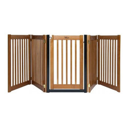 "Dynamic Accents - 32"" Walk Through 5 Free Standing Pet Gate in Artisan Bronze - We offer two standard walk-through models in both 3 Panel and 5 Panel versions. The walk-through metal frame is constructed of welded steel with a durable powder coat finish. The door swings freely in both directions and securely closes at the top and bottom. A tension spring hinge prevents 'curious' pets from nudging open the door. -Artisan Bronze finish. -Five panel EZ Gate is capable of spanning areas up to 9' making this gates ideal for use in open floor plan homes. -Easy to open gate door swings through in both directions and securely latches shut at both the top and bottom of the door. -Folding ""Z"" design panels stands without any wall attachment and fold flat for convenient storage or transport. -Measures 32"" W x up to 108"" L."