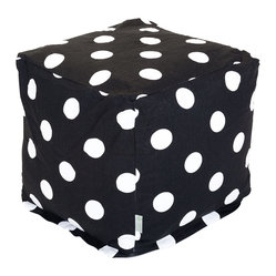 Majestic Home - Indoor Black Large Polka Dot Small Cube - Do something dotty in your decor. This versatile upgrade on the beanbag works as a footstool, end table or comfy seat in your favorite casual setting and comes in your choice of hot colors as well as classic black and white.