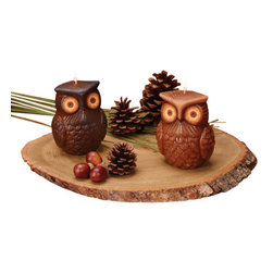 Deco Glow - Owl Candles, Set of 6 in Assorted Colors - Decorative  owl  candles.  Carved  wildlife  votive  candles  in  assorted  colors.  Unique  addition  to  your  country  decor.