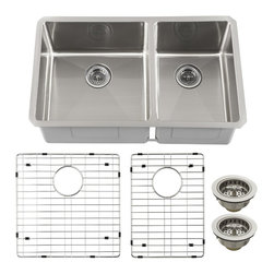 Schon - Schon SCRA604016 Luxury 16 Gauge 60/40 Double Bowl Radius Corner Kitchen Sink, S - Schon SCRA604016 Luxury 16 Gauge 60/40 Double Bowl Radius Corner Kitchen Sink, Stainless Steel Constructed of luxurious 16 gauge commercial grade stainless steel, these sinks are tough enough for commercial applications yet beautiful enough to grace the most distinctive private residence. From innovative radius corner bowls to hand-built apron front farmhouse basins, Schon has a distinctive solution to accommodate your needs. Practical. Beautiful. Smart. Schon is Simply Modern. Schon SCRA604016 Luxury 16 Gauge 60/40 Double Bowl Radius Corner Kitchen Sink, Stainless Steel Features: This beautiful double-bowl radius sink will be the centerpiece of your kitchen or utility room Constructed of luxurious 16 gauge commercial grade stainless steel Soft satin brushed finish looks amazing under any solid surface countertop Sound dampened with premium sound proof coating & rubber pad Triple reinfor