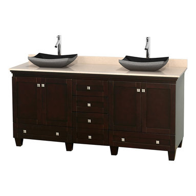 "Wyndham Collection - 72"" Acclaim Double Vanity w/ Ivory Marble Countertop & Altair Black Granite Sink - Sublimely linking traditional and modern design aesthetics, and part of the exclusive Wyndham Collection Designer Series by Christopher Grubb, the Acclaim Vanity is at home in almost every bathroom decor. This solid oak vanity blends the simple lines of traditional design with modern elements like beautiful overmount sinks and brushed chrome hardware, resulting in a timeless piece of bathroom furniture. The Acclaim comes with a White Carrera or Ivory marble counter, a choice of sinks, and matching mirrors. Featuring soft close door hinges and drawer glides, you'll never hear a noisy door again! Meticulously finished with brushed chrome hardware, the attention to detail on this beautiful vanity is second to none and is sure to be envy of your friends and neighbors"