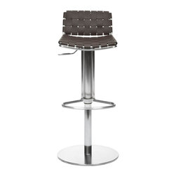 Safavieh - Safavieh Floyd Gas Lift Barstool X-A0003XOF - Choose the Floyd Gas Lift Barstool for stylish comfortable seating that adjusts to your needs. With brown woven bonded-leather seat and back contrasting a sleek stainless steel base, pedestal and footrest, Floyd offers fashion and function. Designed for c