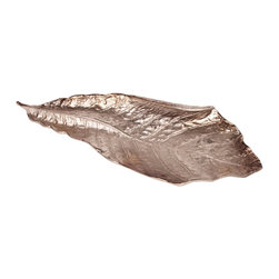 Howard Elliott - Howard Elliott Champagne Silver Leaf Bowl/Hanging Wall Art - Leaf Bowl/Hanging Wall Art belongs to Champagne Silver Collection by Howard Elliott This unique display piece can be used as a bowl or as hanging wall art. It is finished in a champagne silver, and is made from aluminum. Wall Art (1)