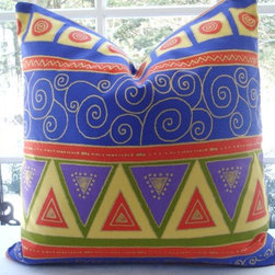 PAIR ART DECO Decorative Designer Pillow - The fabric on this pair of outdoor pillows is playful and fun. It has an art deco pattern with bright eclectic colors. It's perfect for the outdoor space that needs a little color.